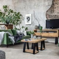 Black Vegan Leather And Fabric Cushion | Home Accessories